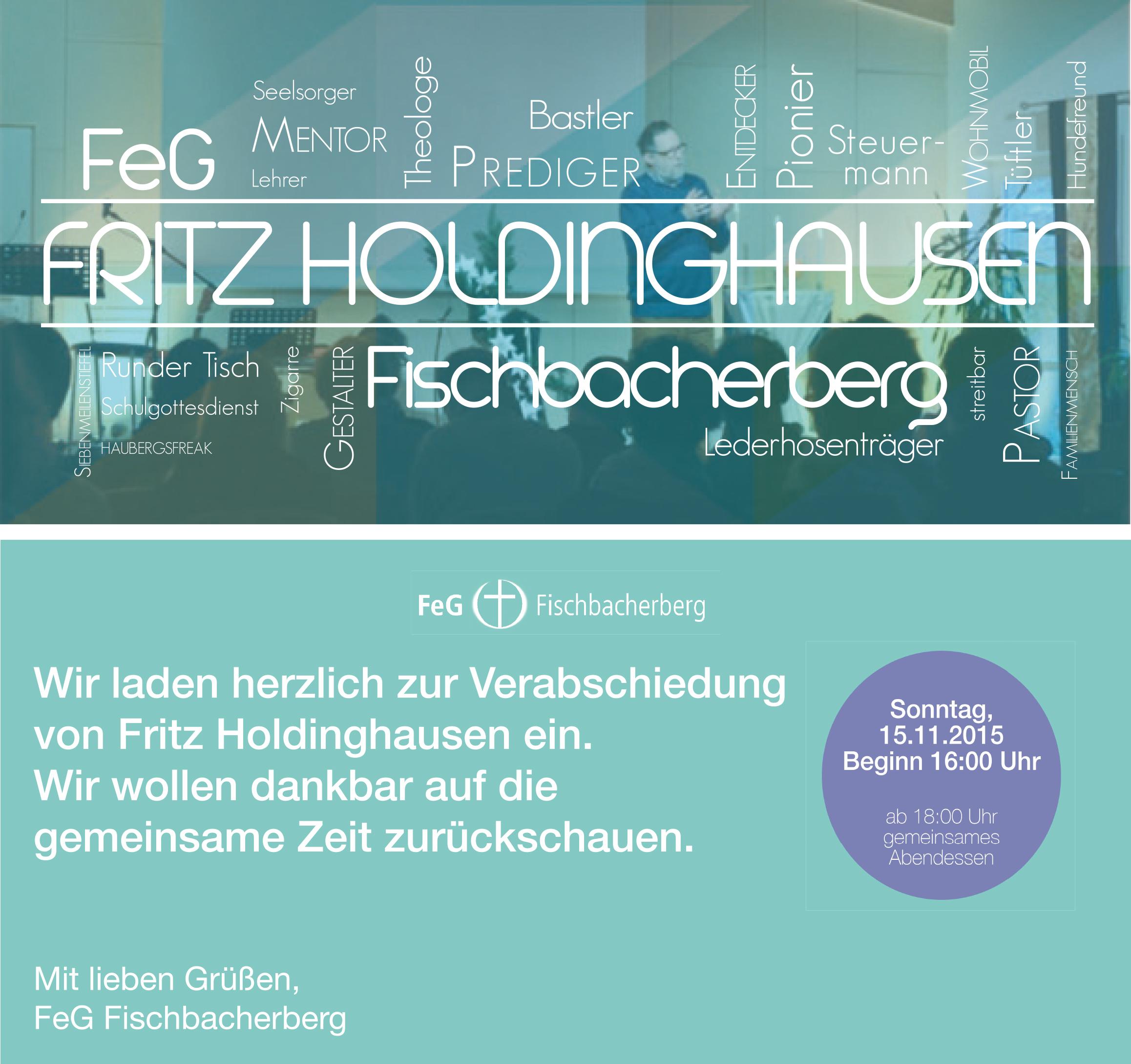 Einladung zur Verabschiedung von Fritz Holdinghausen